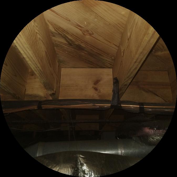 wooden basement ceiling | basement ceiling | NuTech Mold & Water |