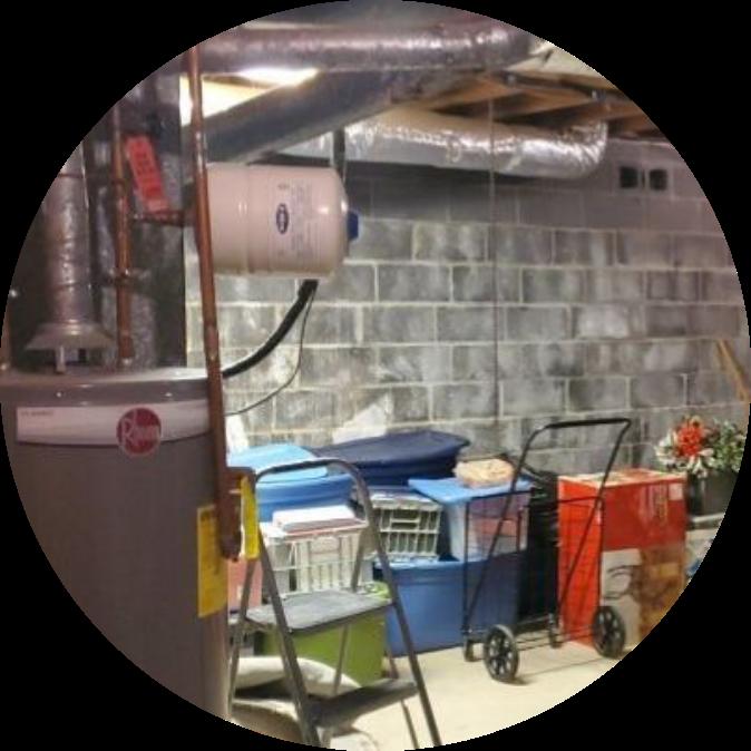 basement block walls with water heater   basement block walls   NuTech Mold & Water  